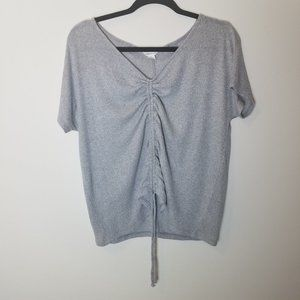 Aeropostale Ruched Tie-Front Top Gray Size M